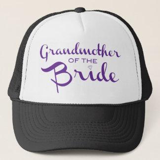 Grandmother of Bride Purple on White Trucker Hat
