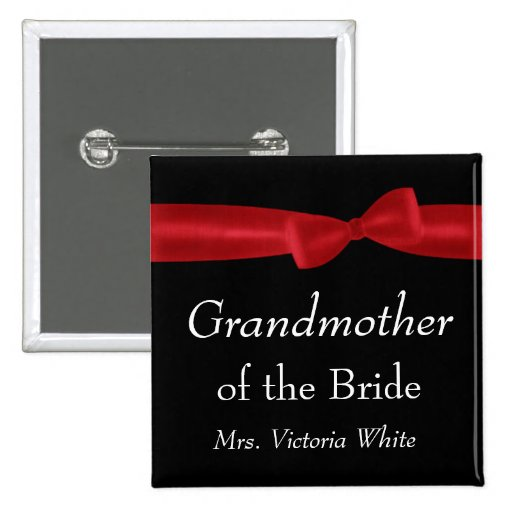 GRANDMOTHER of BRIDE Red Bow Wedding Custom Name Pins