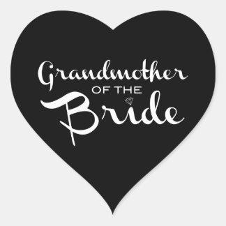 Grandmother of Bride White on Black Heart Sticker