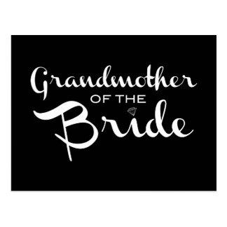 Grandmother of Bride White on Black Postcard