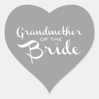 Grandmother of Bride White on Grey Heart Sticker