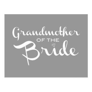 Grandmother of Bride White on Grey Postcard