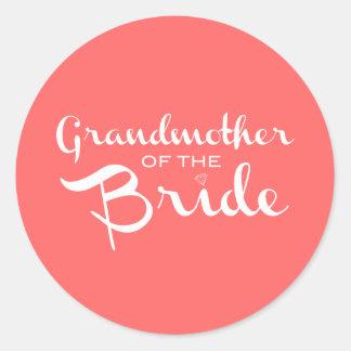Grandmother of Bride White on Peach Classic Round Sticker