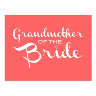 Grandmother of Bride White on Peach Postcard