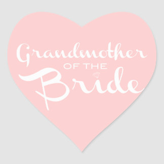Grandmother of Bride White on Pink Heart Sticker