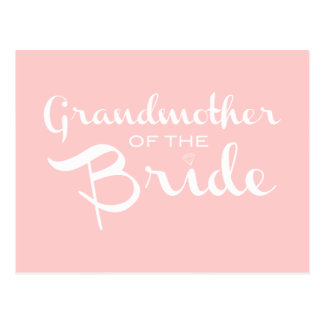 Grandmother of Bride White on Pink Postcard