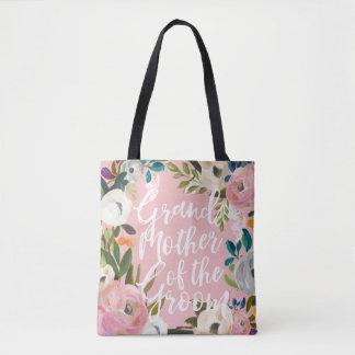 Grandmother of Groom Brushed Floral Wedding Party Tote Bag
