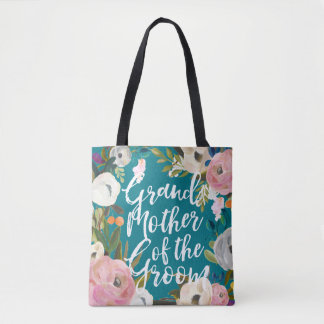 Grandmother of Groom Brushed Floral Wedding Party Tote Bag