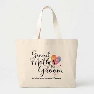 Grandmother of Groom Large Canvas Tote Watercolor