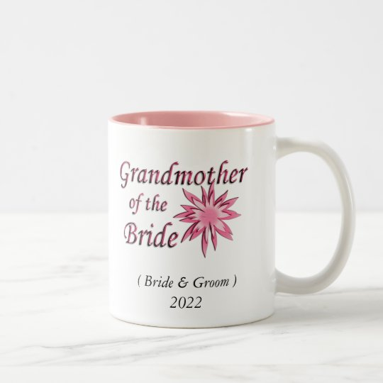 Grandmother of the Bride Pink Two-Tone Coffee Mug