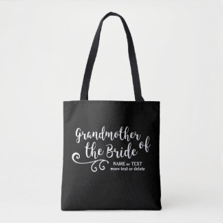 Grandmother of the Bride Tote Bag White Script