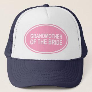Grandmother of the Bride Wedding Oval Pink Trucker Hat