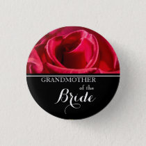 Grandmother of The Bride Wedding Red Roses Button