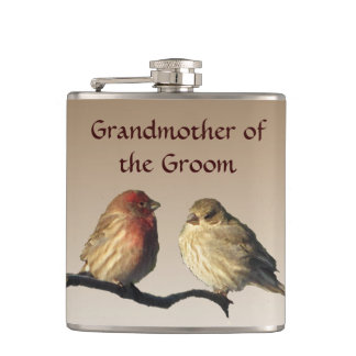 Grandmother of the Groom Finches Wedding Flask