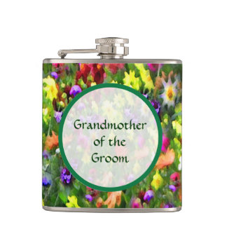 Grandmother of the Groom Floral Wedding Hip Flask