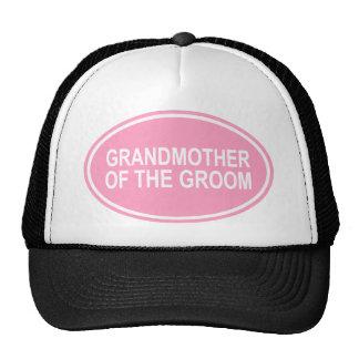 Grandmother of the Groom Wedding Oval Pink Trucker Hat