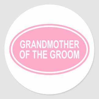 Grandmother of the Groom Wedding Oval Pink Classic Round Sticker