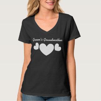 GRANDMOTHER OF THE GROOM Wedding WHITE Hearts V06C Tee Shirt