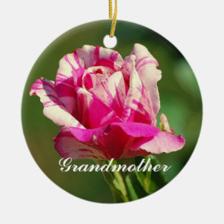 Grandmother Peppermint Christmas Rose Ornament