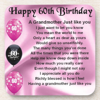 Grandmother Poem - 60th Birthday Drink Coasters