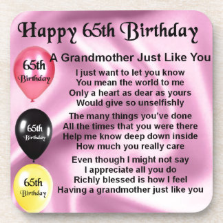 Grandmother Poem  -  65th Birthday Drink Coasters
