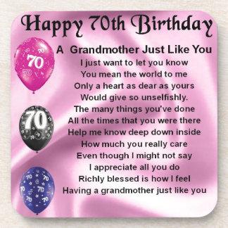 Grandmother Poem - 70th Birthday Drink Coaster