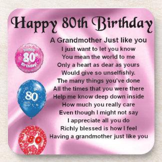 Grandmother poem  -  80th birthday coasters