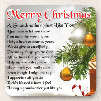 Grandmother poem - Christmas design Beverage Coasters