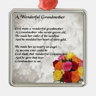 Grandmother Poem - Flowers Metal Ornament