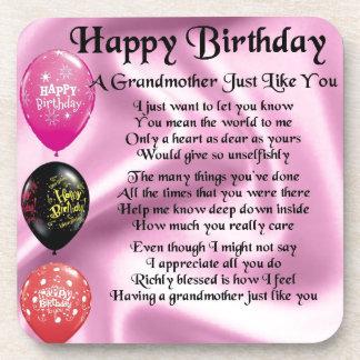 Grandmother Poem -  Happy Birthday Drink Coasters
