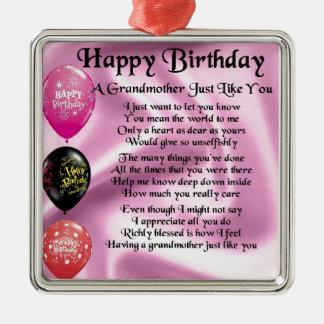 Grandmother Poem -  Happy Birthday Metal Ornament