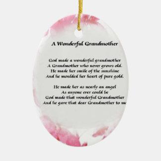 Grandmother Poem - Pink Floral Ceramic Ornament