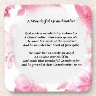 Grandmother Poem - Pink Floral Beverage Coaster