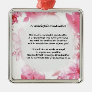 Grandmother Poem - Pink Floral Metal Ornament