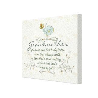 Grandmother Poem with Birds Canvas Print