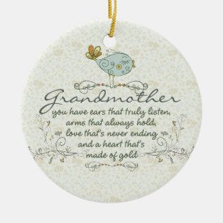 Grandmother Poem with Birds Ceramic Ornament