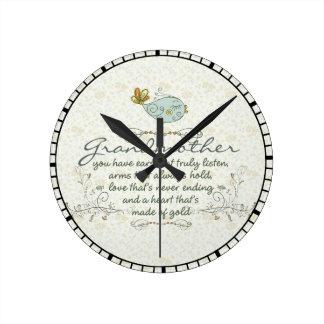Grandmother Poem with Birds Round Wall Clocks