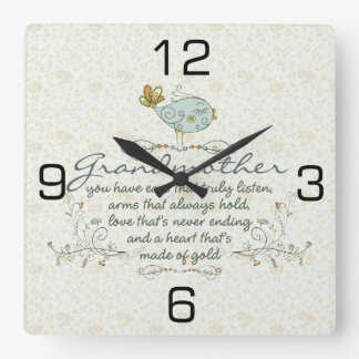 Grandmother Poem with Birds Square Wall Clock