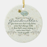 Grandmother Poem with Birds Double-Sided Ceramic Round Christmas Ornament