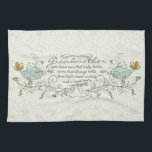 "Grandmother Poem with Birds Hand Towel<br><div class=""desc"">You have ears that truly listen,  arms that always hold,  love that's never ending and a heart that's made of gold. With two light birds on each sides and trendy twirls,  swirls,  with some orange,  yellow,  gold colors for the tails and flowers.</div>"