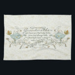 """Grandmother Poem with Birds Kitchen Towel<br><div class=""""desc"""">You have ears that truly listen,  arms that always hold,  love that's never ending and a heart that's made of gold. With two light birds on each sides and trendy twirls,  swirls,  with some orange,  yellow,  gold colors for the tails and flowers.</div>"""