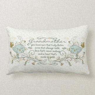 Grandmother Poem with Birds Lumbar Pillow