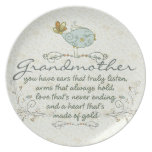 Grandmother Poem with Birds Party Plates