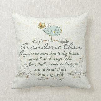 Grandmother Poem with Birds Throw Pillows