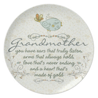 Grandmother Poem with Birds Plates