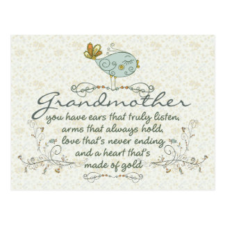 Grandmother Poem with Birds Postcard