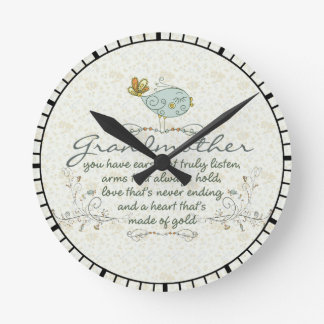 Grandmother Poem with Birds Round Clock