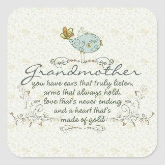 Grandmother Poem with Birds Square Sticker