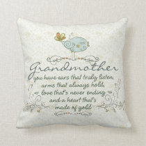 Grandmother Poem with Birds Throw Pillow
