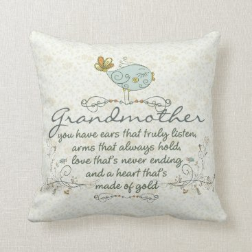 ironydesigns Grandmother Poem with Birds Throw Pillow